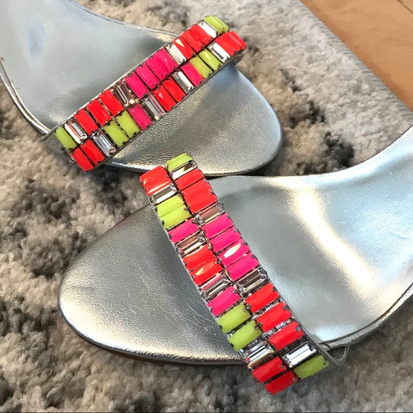 Dune London Shoes - Colorful Dune Silver Leather & Neon Stone Sandals